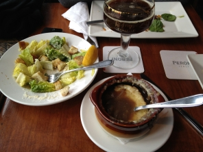complete with caesar salad and french onion soup