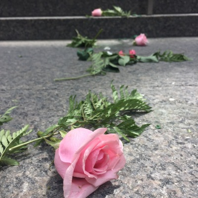 weird broken bouquet of roses strewn across the steps of the TD Centre