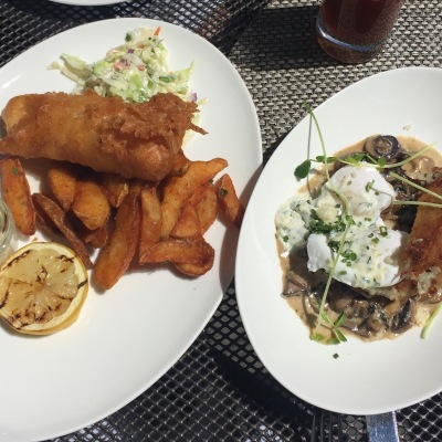 Fish and Chips and a Mushroom thingy on potato rosti. DANG.